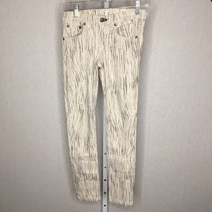 Rag & Bone White & Gray Print Skinny Jeans